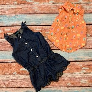 Oshkosh Denim Jean Romper and Sleeveless Shirt